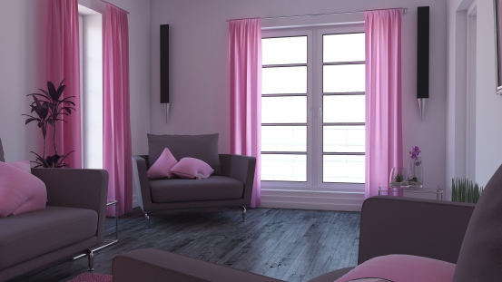 purple wall, couches, pink curtains