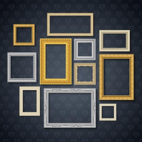 Vintage traditional realistic frames set on dark wall