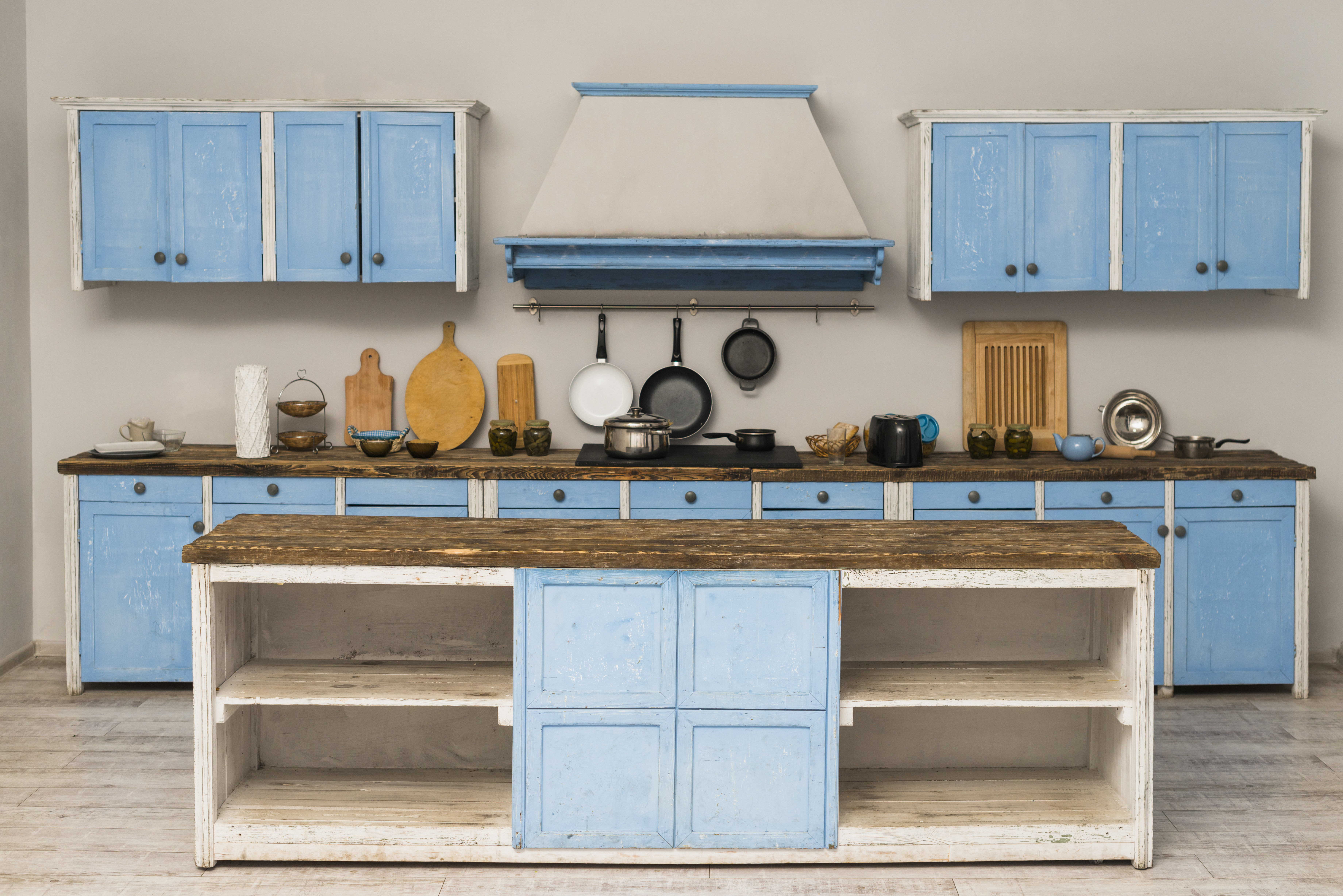 kitchen cabinets painted with blue