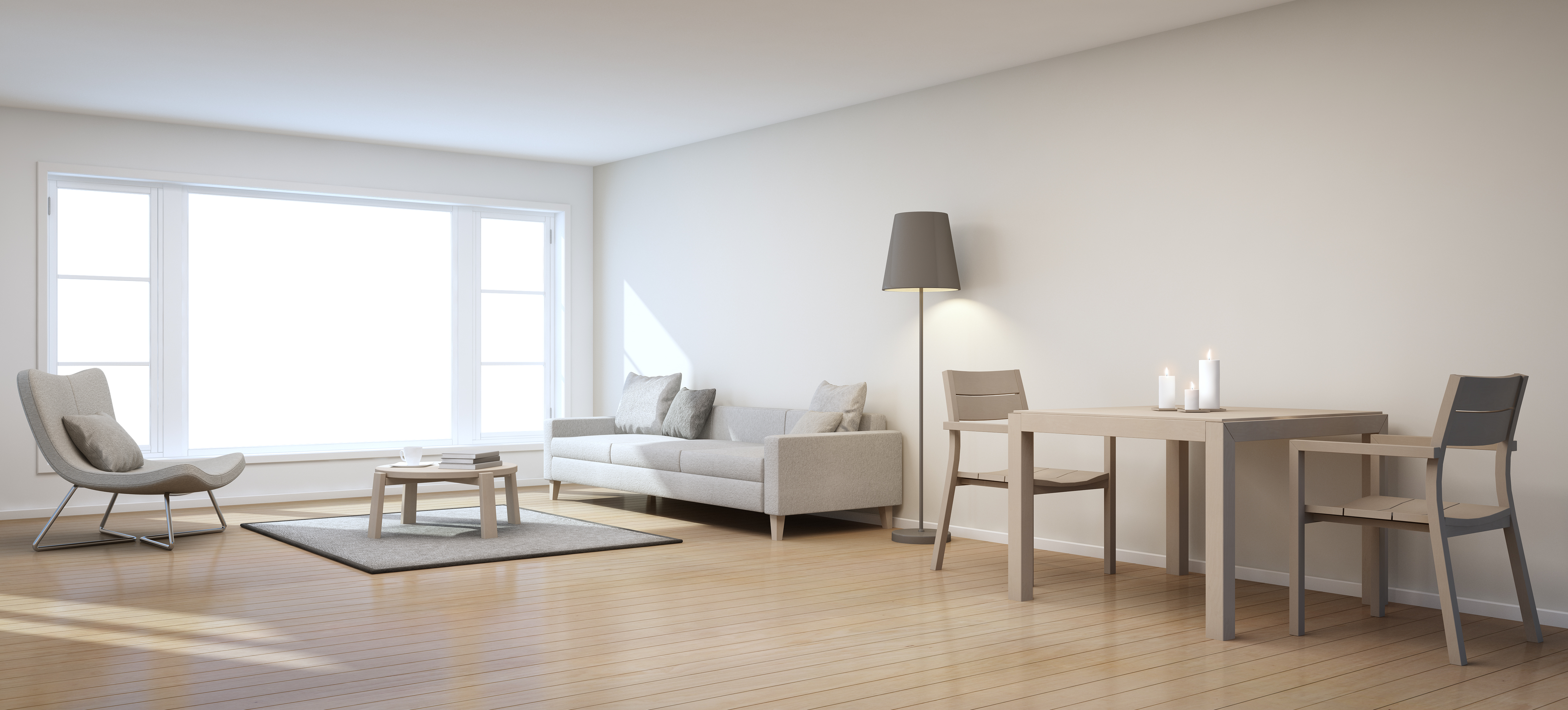 white room with couch and lamp, wooden chairs and table