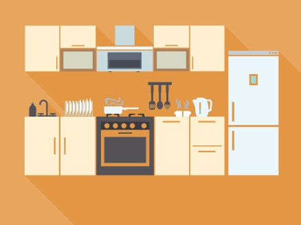 Kitchen interior design with furniture equipment and utensils, orange wall color