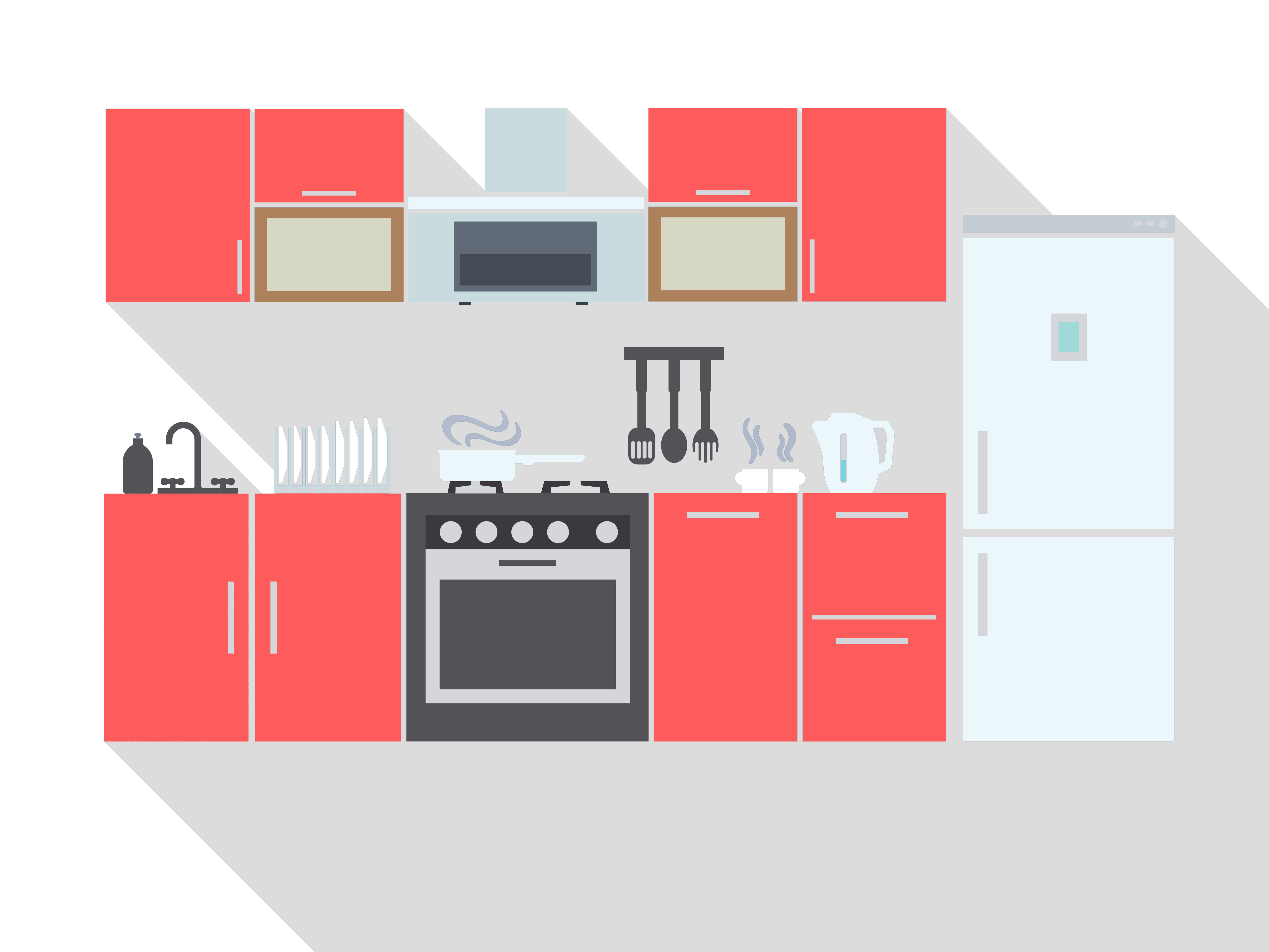 Kitchen interior design with furniture equipment and utensils, classic white wall color, red furniture paint color