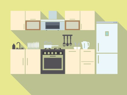 Kitchen interior design with furniture equipment and utensils, light yellow wall color
