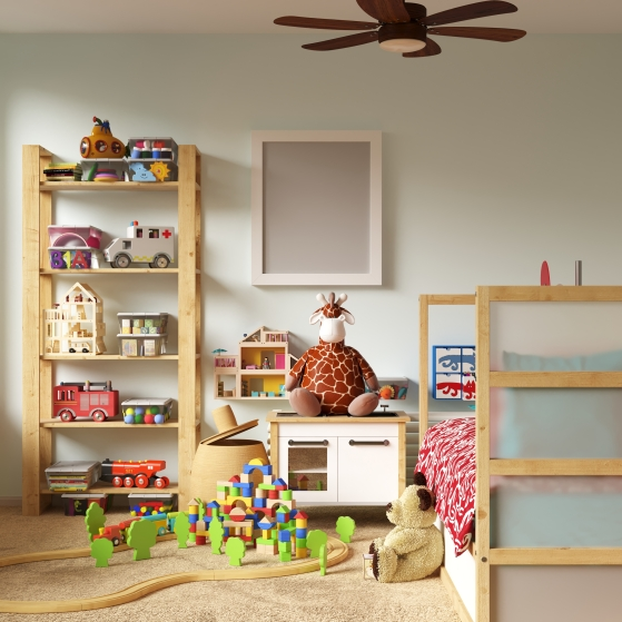 kid's bedroom filled with toys on white background
