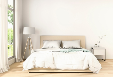 bedroom with decorations in white background